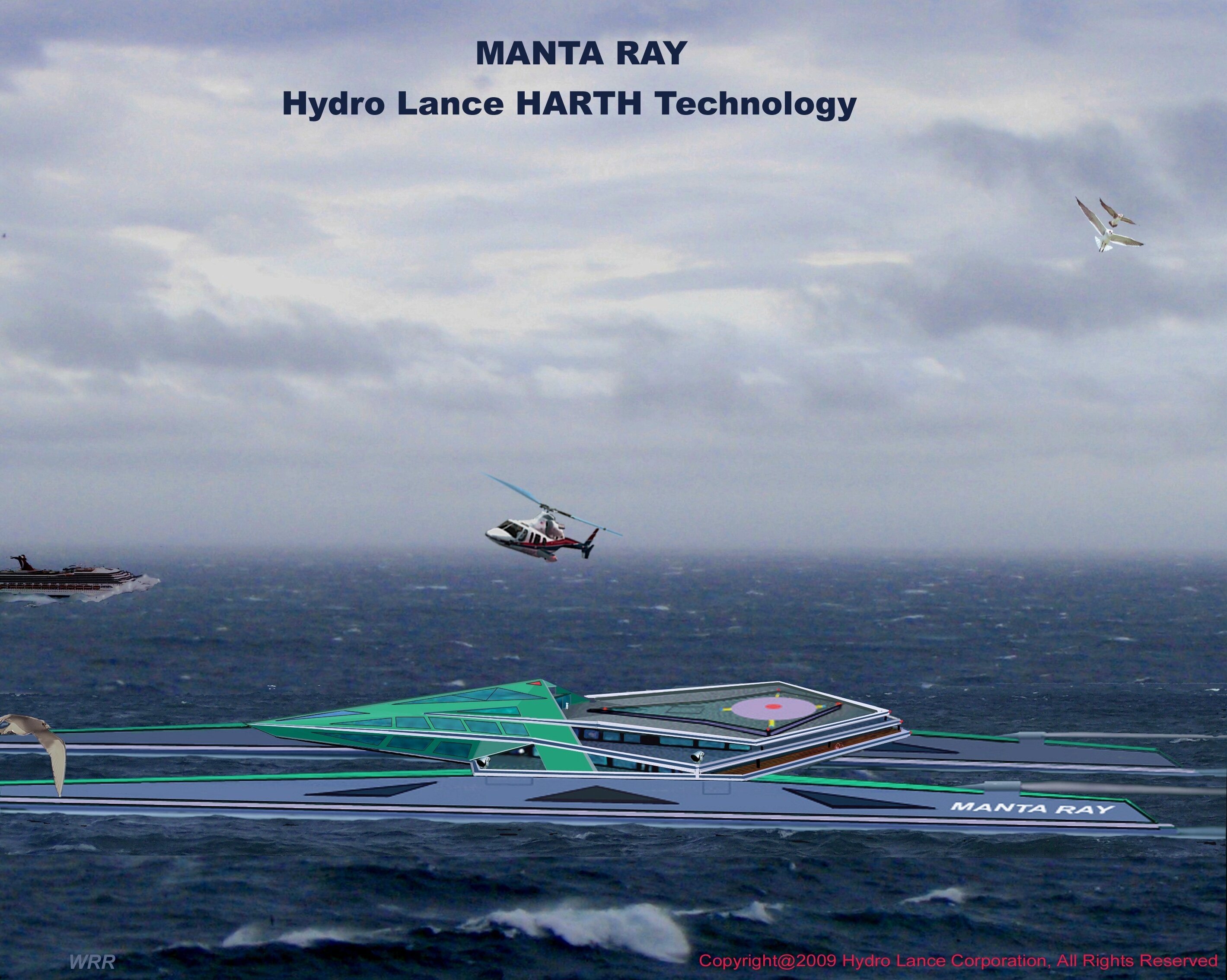 Super-Fast HARTH Manta Series Yacht with Helicopter Pad - Landing at Sea